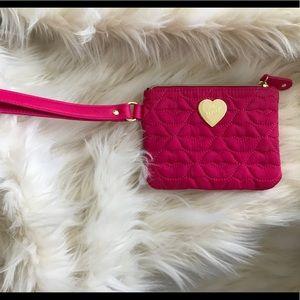 Betsey Johnson clutch/coin purse, hot pink,